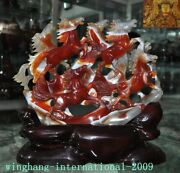 13old China Fengshui Natural Agate Onyx Hand-carved Lucky Animal 8 Horse Statue