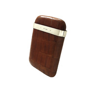 Antique Crocodile Leather And Sterling Silver Cigar Case 1911