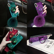Epoxy Glitter Marble Plush Ball Case W/ring For Iphone 12 Pro Max 11 Xs Xr 6 7 8