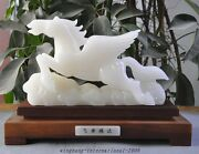 Chinese Fengshui Natural White Jade Hand-carved Success Lucky Wings Horse Statue