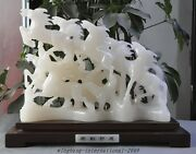 17 Chinese Fengshui Natural White Jade Hand-carved Success Lucky 8 Horse Statue