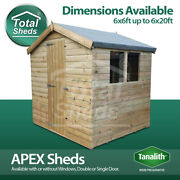 Total Sheds Apex Pressure Treated Tanalised Shed Sizes From 6x6 To 6x20