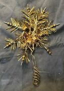 Vintage German Tinsel And Mercury Glass Bead Feather Christmas Tree Topper