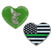 St. Michael Patron Saint Of American Heroes Heart Green 2.5 Challenge Coin