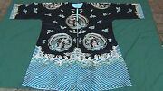 Antique Chinese 8 Gold Phoenix Silk Embroidered Robe On Black Background 48x646