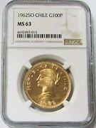 1962 So Gold Chile 100 Peso Coin Ngc Mint State 63