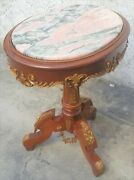 Vintage Oval French Pink Marble Top Side / Lamp / End Table La Area