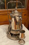 Antique Reed And Barton Silver Tilting Water Pitcher W/ Goblet, Drip Tray And Jug