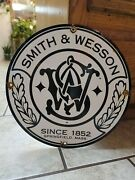 Vintage Smith And Wesson Firearms Gun Advertising Metal Porcelain Sign Dated1949