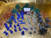Civil War Playset Confederate And Union - 54mm Plastic Toy Soldiers Lot Of 82