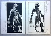 Ralph Steadman Signed Negative And Positive Primate Limited Ed Matching Set