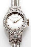 Antique 8000 And Co Platinum Ladies 2ct French Cut Diamond Watch Wty
