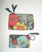 Vera Bradley Colorful Floral Wallet And Matching Id Keychain