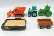 Bob The Builder Plastic Vehicle Lot Roley Travis Tractor And Muck W/trailers