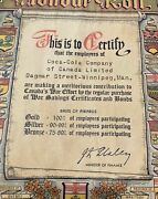 Coca Cola Wwii Government Of Canada Bond Buying Certificate Of Recognition Rare