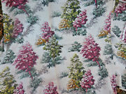 4 Panel Barkcloth Drapes Red Gold Green Leaf Trees Off White Shiny Vintage 88 42