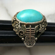 Antique Chinese Export Silver And Turquoise Carved Good Luck Symbol Ring Adjusting