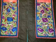 2 Antique 19th C Qi'ing Chinese Embroidered Silk Panels From Skirt Embroidery