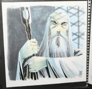 Saruman Christopher Lee W Staff From Lord Of The Rings Art By Mike Henderson