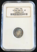 1961 Roosevelt Dime Proof Pf68 Ultra Cameo Old Ngc Fatty Holder Ice Blue Toning
