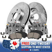 Front Oe Calipers +d/s Brake Rotors +ceramic Pads For Cadillac Cts Sts