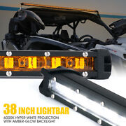 Xprite 38 Inch Single Row Led Driving Work Light Bar Amber Backlight Offroad Atv
