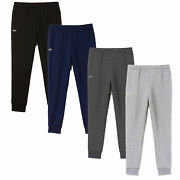 Lacoste Menand039s Jog Pants Essential Drawstring Cotton Jogging Bottoms Cuffed