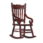 112 Dollhouse Antique Wood Rocking Chair Set Home Garden Yard Furniture