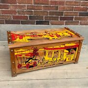 Antique Wooden Toy Box Circus Parade 1950s Toy Chest 30x14.5x13