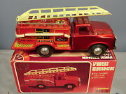 Maker Unknown Tinplate Friction Model No.mf 163 Fire Truck With Siren Mib