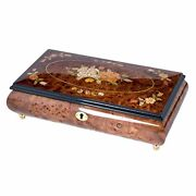 Floral Vignette Glossy Dark Olmo Hand Crafted Inlaid Wood Jewelry Music Box