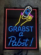 Pabst Blue Ribbon Beer Grabst A Pabst Can Lady Hand Light Up Led Sign Game Room