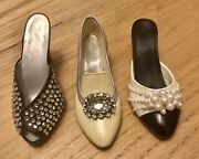 """Collectible Miniature Beautiful 3 Shoes """"just The Right Shoe""""with Crystals"""