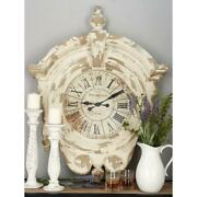 Large Rustic Vintage Whitewashed Wall Clock Distressed Carved Wood Roman Numeral