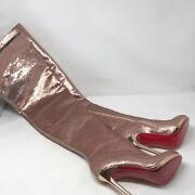 Christian Louboutin Womenand039s Sequin Thigh High Boots Silver Size 7.5 Nwt