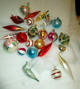 Old Christmas Tree Mercury Glass Ornaments With Birds