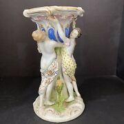 """Meissen 18th Century Dish Stand Depicting Women Hugging A Tree 10""""tall"""