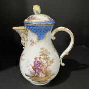 Meissen 19th Century Porcelain Pitcher With Lid 8.25andrdquotall