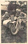 Germany 2 Soldiers With Their Motorcycle And Sidecar Real Photo Pc Used 1940and039s