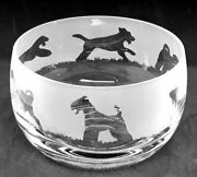 Airedale Terrier Frieze 12cm Boxed Crystal Glass Bowl