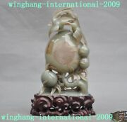100 Natural He Tian Jade Old China Dynasty Carving Peach Bird Text Word Statue