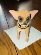 Vintage Chihuahua Bobble Head Dog - Velvet Flocked Type - 4.75 In. Collectible