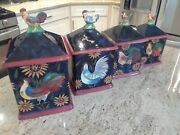 Certified International Susan Winget Rooster/sunflower Set 4 Canisters