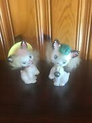 Vintage Commodore Fuzzy Cat Salt And Pepper Shakers