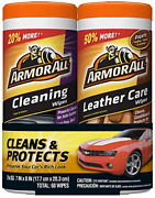 Armor All Car Cleaning And Leather Wipes - Interior Cleaner For Cars And Truck And