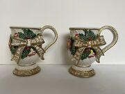 Pair Of Fitz And Floyd Footed Christmas Mugs, Gold Bow, Greenery, Holiday