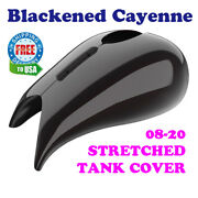 Blackened Cayenne Stretched Tank Cover For Harley 2008-20 Street Road Glide