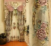 Embossed Window Curtains European Style Elegant Home Ceiling Hanging Cloth Decor