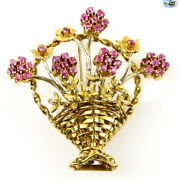 Fine 1950s Vintage 18k Yellow Gold And Ruby 8 Flowers Basket Bouquet Brooch/pin