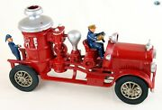 Fine Large Hubley Mfg Co. Antique 1920s Cast Iron Fire Truck Toy W/firefighters